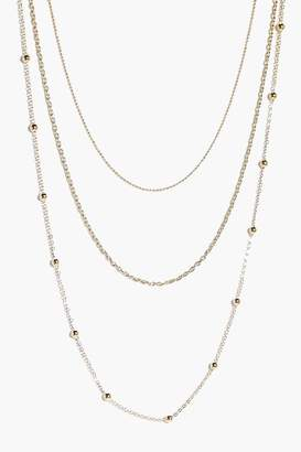 boohoo Grace Skinny 3 Layered Necklace gold