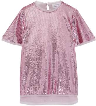 Prabal Gurung Thomson Frayed Georgette-trimmed Sequined Tulle T-shirt
