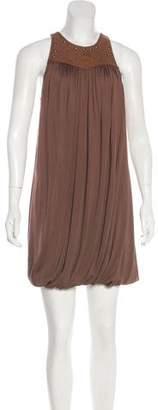 Ralph Lauren Silk Leather-Accented Dress