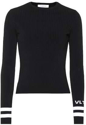 Valentino Logo ribbed knit sweater
