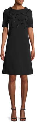 Escada Round-Neck Short-Sleeve Embellished A-Line Crepe Dress