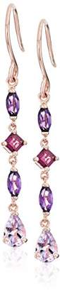14k Gold Plated Sterling Silver Genuine Amethyst and Garnet Dangle Earrings