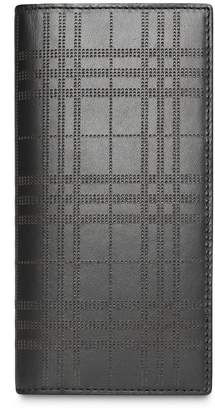 Burberry Perforated Check Leather Continental Wallet