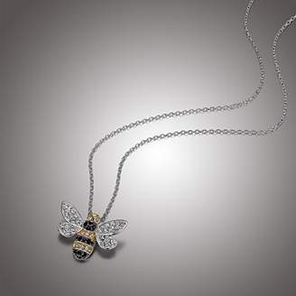 """Swarovski Sterling Silver Bumblebee Pendant Necklace Made with Crystal (18"""")"""