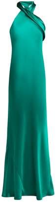 Pandora GALVAN silk-satin halterneck gown