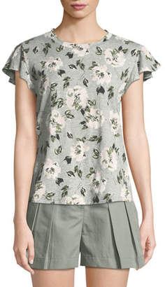 Rebecca Taylor Magnolia Short-Sleeve Floral Tee