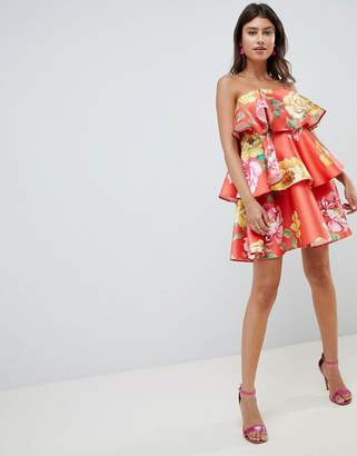 Asos Design DESIGN structured tiered mini dress in bright floral print