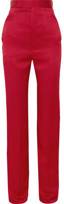Haider Ackermann Cotton-blend Satin Straight-leg Pants - Claret