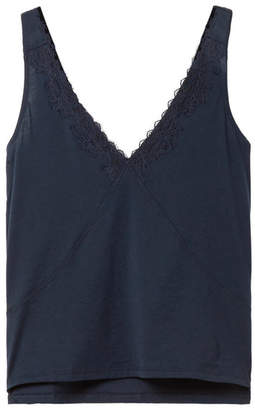 Skin - Quincey Lace-trimmed Organic Pima Cotton-jersey Pajama Top - Midnight blue