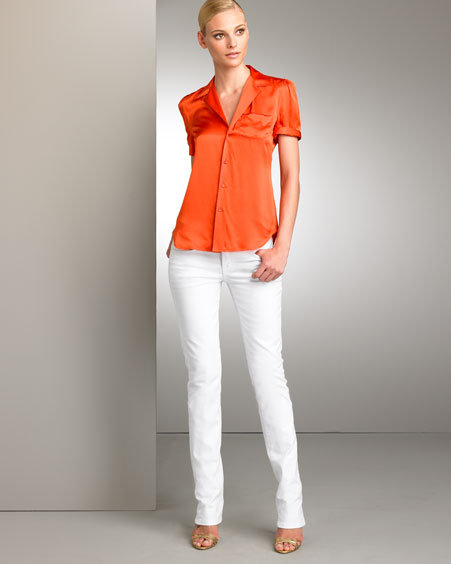 Ralph Lauren Collection Puff-Sleeve Blouse