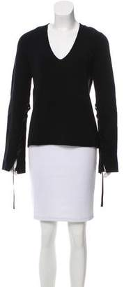 Helmut Lang Ribbon Tie-Accented Wool Sweater w/ Tags