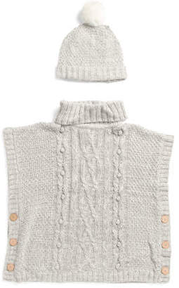 Big Girls Turtleneck Cape Sweater With Hat