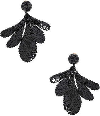 Oscar de la Renta Sequin Leaf Earrings