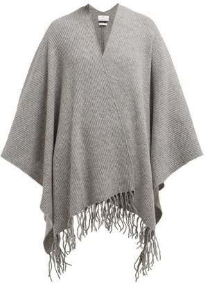 Allude Tasselled Wool And Cashmere Blend Wrap - Womens - Grey