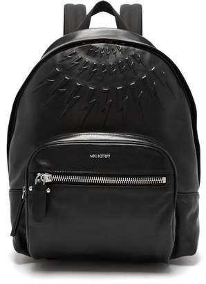 Neil Barrett Lightning Bolt Embossed Leather Backpack - Mens - Black