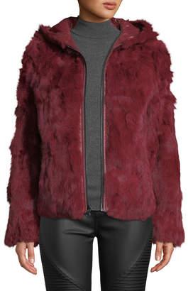 Adrienne Landau Hooded Reversible Rabbit-Fur Puffer Jacket