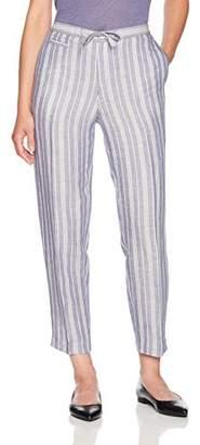Anne Klein Women's Drawstring Striped Linen Pant