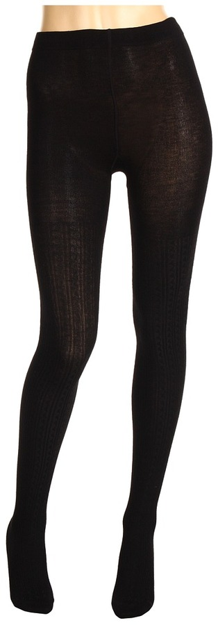Cole Haan - Wooly Cable Tights (Black) - Hosiery