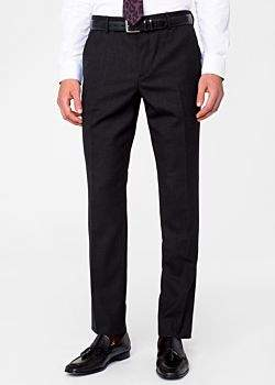 Paul Smith Men's Slim-Fit Charcoal Grey Wool 'A Suit To Travel In' Trousers