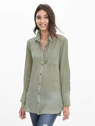 Banana Republic Petite Semi-Sheer Silk High-Low Blouse