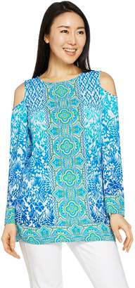 Belle By Kim Gravel Belle by Kim Gravel Cold Shoulder Printed Tunic