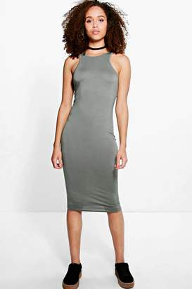 boohoo Amelie Basic Racer Front Midi Dress