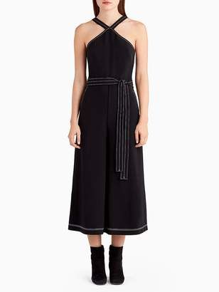 Wide Leg Jumpsuit with Top Stitching Detail