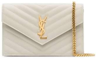 Saint Laurent white Monogram leather cross-body bag