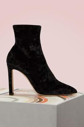 Jimmy Choo Louella 100 Velvet Ankle Boots