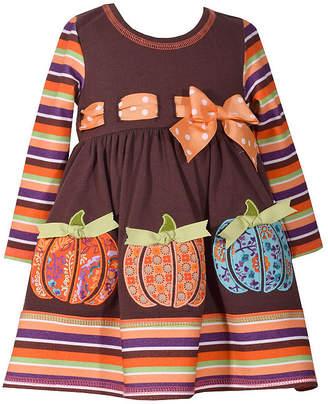 Bonnie Jean Long Sleeve Pumpkin Dress - Baby Girls