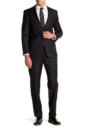 Calvin Klein Solid Charcoal Slim Fit Two Button Notch Lapel Stretch Wool Suit