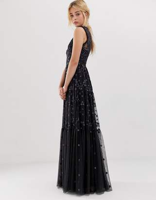 Needle & Thread embroidered lace maxi gown with high neck in graphite
