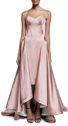 Zac Posen Strapless Pleated High-Low Gown $6,990 thestylecure.com