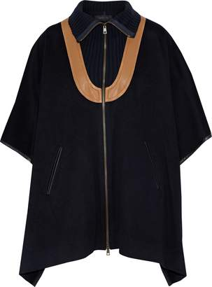 Derek Lam Leather-trimmed Ribbed Knit-paneled Wool And Mohair-blend Cape