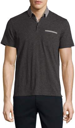 Neiman Marcus The Good Man Brand Contrast-Trim Polo Shirt, Gray/Black