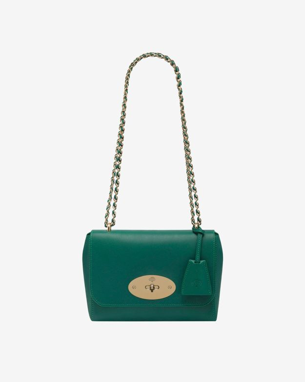 Mulberry Lily Micrograin Calf Shoulder Bag: Emerald