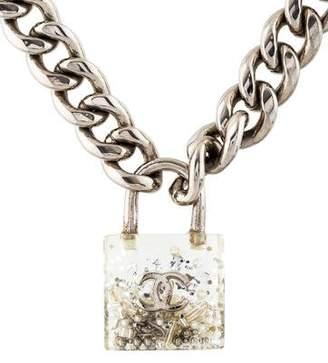 Chanel Small Confetti Resin Padlock Pendant Necklace