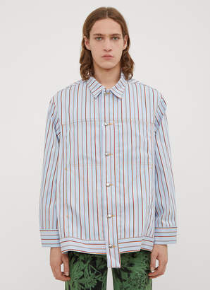 Eckhaus Latta Striped Denim Jacket Shirt in Blue