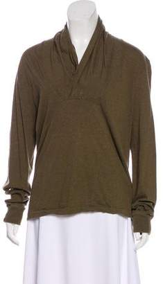 Alexander McQueen Shawl Collar Long Sleeve Top