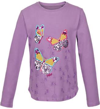 Fat Face Girls' Long Sleeve Butterfly T-Shirt, Purple