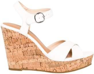 Le Château Women's Leather-Like Open Toe Wedge Sandal