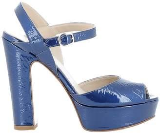 Elena Iachi Blue Leather Sandals
