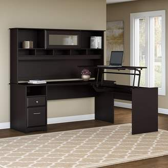 Hillsdale Red Barrel Studio L-Shaped Height Adjustable Computer Desk with Hutch