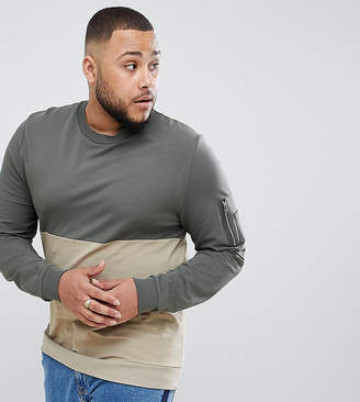 Asos DESIGN Plus sweatshirt with color blocking and MA1 pocket detail