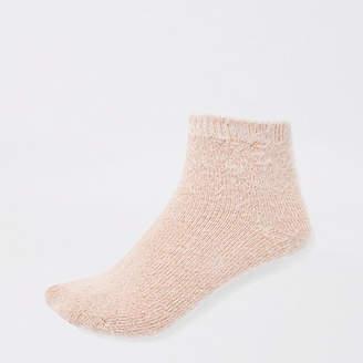 River Island Pink fluffy ankle socks