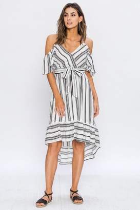 Flying Tomato White/black Stripes Dress