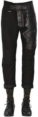 Haider Ackermann Slim Cotton & Leather Biker Pants