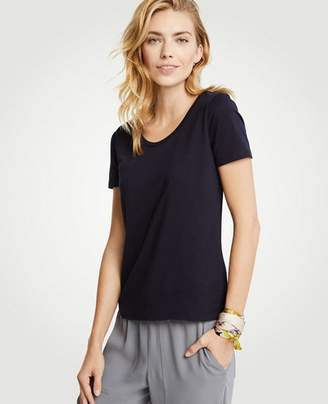 Ann Taylor Petite Pima Cotton Scoop Neck Tee