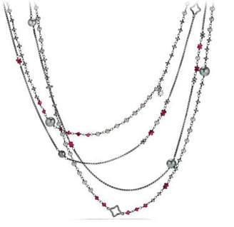 David Yurman Oceanica Two-Row Chain Necklace With Grey Pearls And