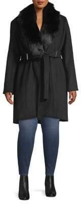 Calvin Klein Plus Faux Fur-Trimmed Trench Coat